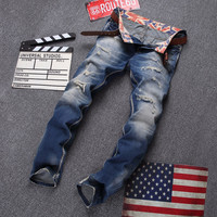 Men's Denim Washed Ripped Jeans