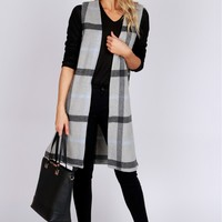 Plaid Duster Vest Grey/Black/Blue