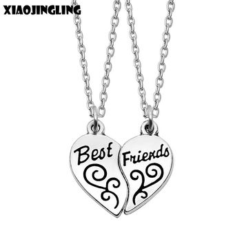 XIAOJINGLING 2017 New Style Fashion Friendship Broken Heart Parts 2 Best Friend Necklaces & Pendants Share With Your Friends