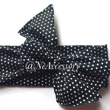 Black And White Head  Wrap, Baby Headwraps, Black and White Bow, Turban Headband, Baby Bow Headband, Adult Turban Headband, Infant-Adult