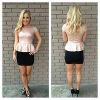 Pink & Black Crystal Peplum Sequin Dress