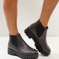 Wide Fit Dark Red Suedette Chunky Chelsea Boots