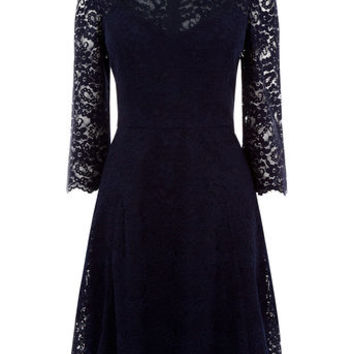 LACE SLEEVE SKATER DRESS