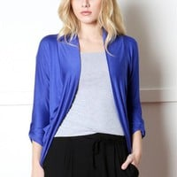 Open Front Roll Up Long Sleeve Jersey Draped Knit Cardigan