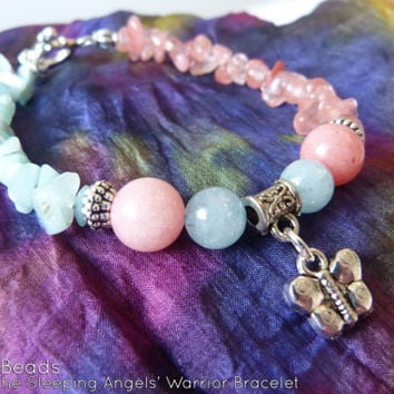 Child & Baby Loss, Miscarriage, and Infertility Awareness Ribbon - Rhodochrosite Aquamarine Butterfly Tibetan Silver Charm Warrior Bracelet