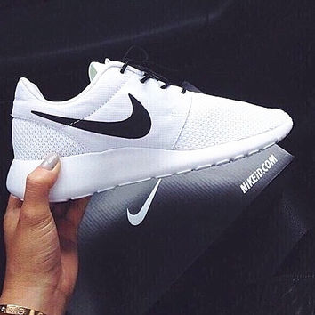"""NIKE"" Roshe One Women Casual Sport Shoes Sneakers white Black hook"