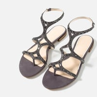FLAT SANDALS WITH SHINY DETAILS - Extended sizes-SHOES-WOMAN | ZARA United Kingdom