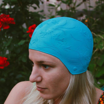 Fish Swimming Cap / Beautiful Soviet Vintage Blue Retro Bathing Cap with Embossed Fish Pattern / Rare Nautical Sport Accessory, Circa 1970s