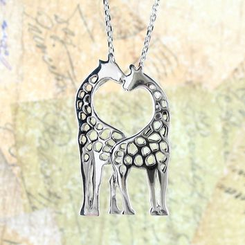 Kissing Giraffes Love Necklace