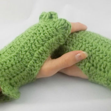 Sage green - Hand Crochet Fingerless Gloves