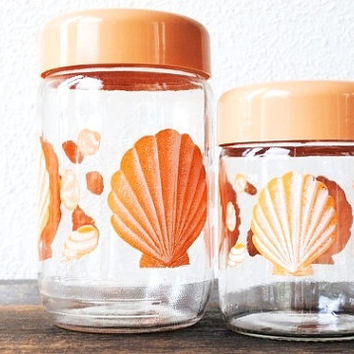 Vintage French Glass Jars, Seashell Peach Canister Set, Storage Beach Decor Sea Shells