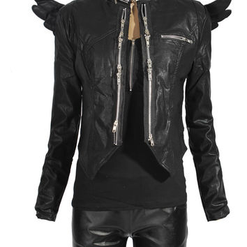New fashion leather jacket for women's black color long sleeve PU leather wings zipper coat/jacket/outwear