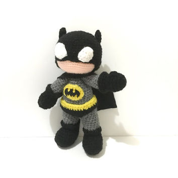 Made to Order Amigurumi Batman Inspired Doll Crochet Batman Toy Super Hero Plush Photo Prop Birthday Baby Shower Gift Ideas