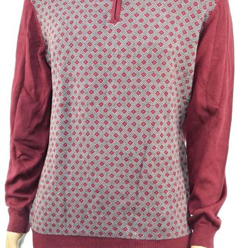 Tasso Elba Men's Long-Sleeve Red Diamond-Pattern Quarter-Zip Pullover Sweater L