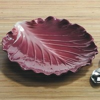 Red Cabbage Ceramic Plate Serveware for Setting Dinner Table 9.5L