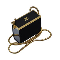 Rare Chanel Black Lucite Mini Handbag