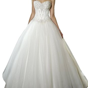 Sweetheart Beaded Corset Bodice Classic Tulle Wedding Dress