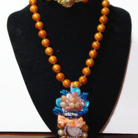Vintage Up Cycled Altered Art Cameo Beaded Artisan Necklace