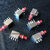 free shipping 10pcs Right Angle PCB Latching Push Button Switch 6 Pin