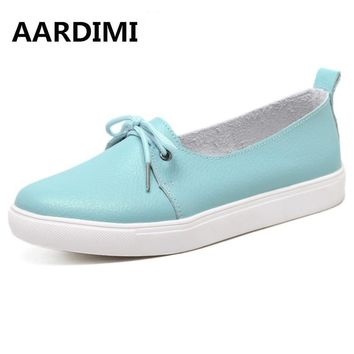 AARDIMI Autumn Lovely Women Shoes Genuine Leather Women Flats Shoes Moccasins Single S