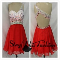 White Red Colorful Beaded Illusion One Shoulder Open Back Prom Dress 2015