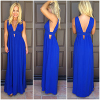 Kenya Cutout Maxi Dress - ROYAL BLUE