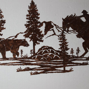 Cowboy on Startled Horse with Bear Mountain Scene Large Metal Wall Art