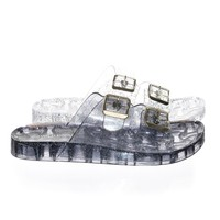Amar01 by Wild Diva Clear Lucite Jelly Slip On Sandal On Molded Footbed Platform w Glitter