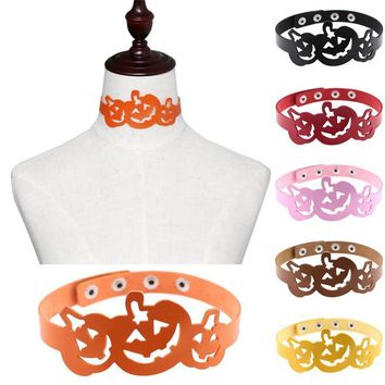 16 Colors Fashion Harajuku Punk Gothic Hollow Pumpkin PU Leather Necklace For Women Halloween Gift Choker Collar Necklace Men