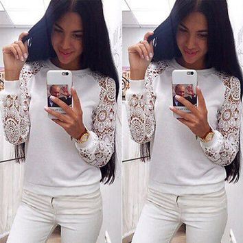 Women Long Sleeve Lace Hoodies Sweet Casual Sweatershirt Pullover Knitwear White