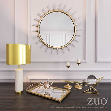 A10711 Set Of 3 Mirrored Trays Gold