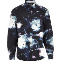 River Island MensNavy cosmic print long sleeve shirt