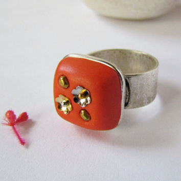 Hyacinth Orange Wide Band Ring DeCore Clay by SandstarJewelry