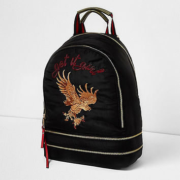 Black eagle embroidered backpack - backpacks - bags / purses - women