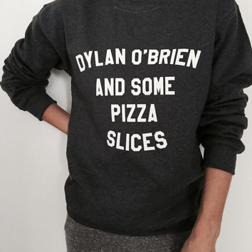 Dylan o'brien and some pizza slices sweatshirt dark heather crewneck fangirls