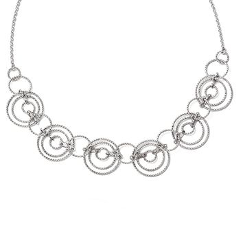 Adjustable Laser Cut Circle Link Necklace in Sterling Silver