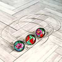 floral cabochon silver bangle bracelet, choose one, photo jewelry, colorful