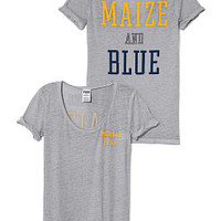 University of Michigan Rolled Cuff Tee - PINK - Victoria's Secret