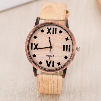 Explosion Models Of Vintage Wood Grain Rome Scale Watch Fashion And Popular Men And Women Watches [8069814343]