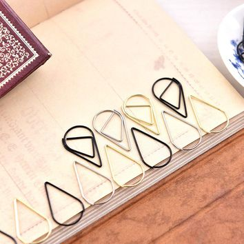 20pcs /lot Metal Material Drop Shape Paper Clips gold silver color funny kawaii bookmark office shool stationery marking clips