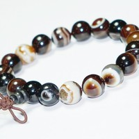 Wrist Mala Buddhist Beads Hand Mala Prayer Bracelet for Meditation Brown Agate Solar Circles
