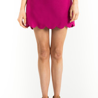 Alyssa Magenta Scallop Mini Skirt