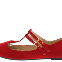 REVERSAL05A RED T-STRAP MARY JANE FLAT