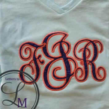 applique monogrammed shirt, vine monogram