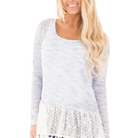 Navy and Ivory Two Tone Top with Crochet Detail