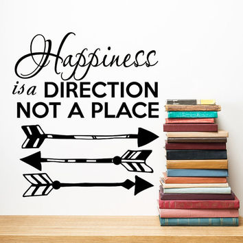 Wall Decals Happiness is a Direction Quote Decal Boho Arrows Vinyl Stickers  Home Bedroom Bohemian Decor T83