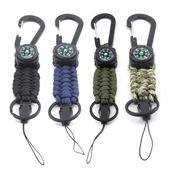Outdoor Camping Hiking Emergency Survival Kit Military Braided Rope Rescue Climb Paracord Carabiner Keychain 3m