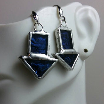 Stained Glass Earrings of Blue Van Gogh Glass, Downward Arrows