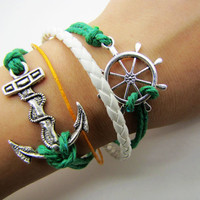 silvery  Anchor Rudder Leather and Ropes Women Cuff Bracelet Unisex Bracelet Jewelry Cuff Bangle  1069A