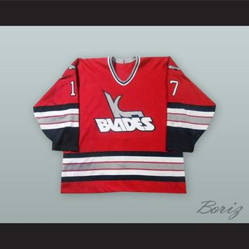Jeff Madill 17 Kansas City Blades Red Hockey Jersey